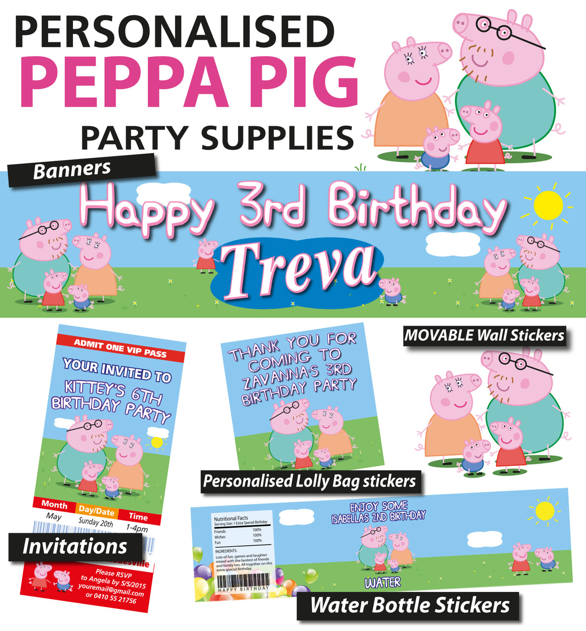 Personalised Peppa Pig Birthday Party Banner And Decorations Loading Zoom