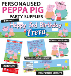 Personalised Peppa Pig Birthday Party Banner and Decorations