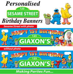 Personalised Sesame Street Birthday Party Banner Decoration
