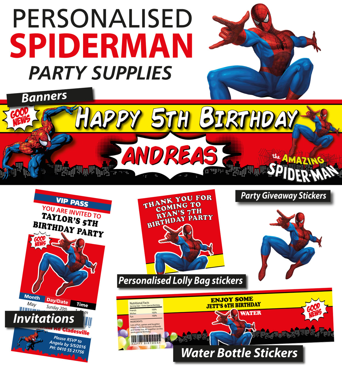 Personalised Spiderman Birthday Party Banner Decorations Loading Zoom