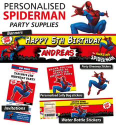 Personalised Spiderman Birthday Party Banner Decorations