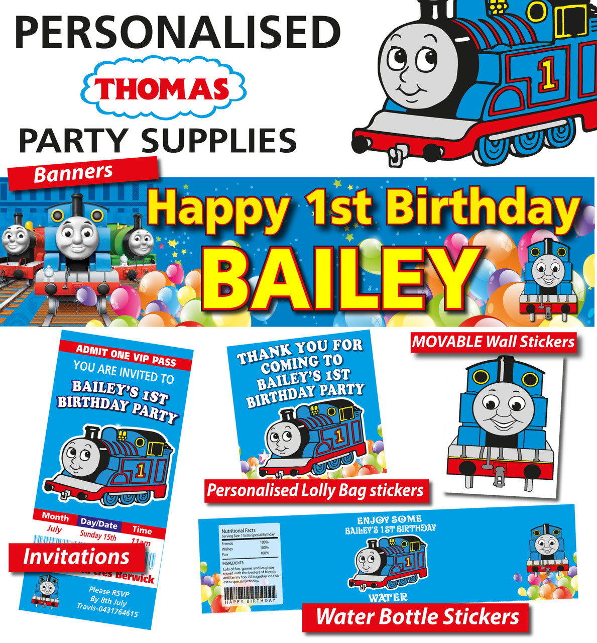 Personalised Thomas The Tank Engine Birthday Party Banner Decorations Loading Zoom