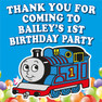 Personalised Thomas the Tank Engine Birthday Party Lolly Toot bag stickers