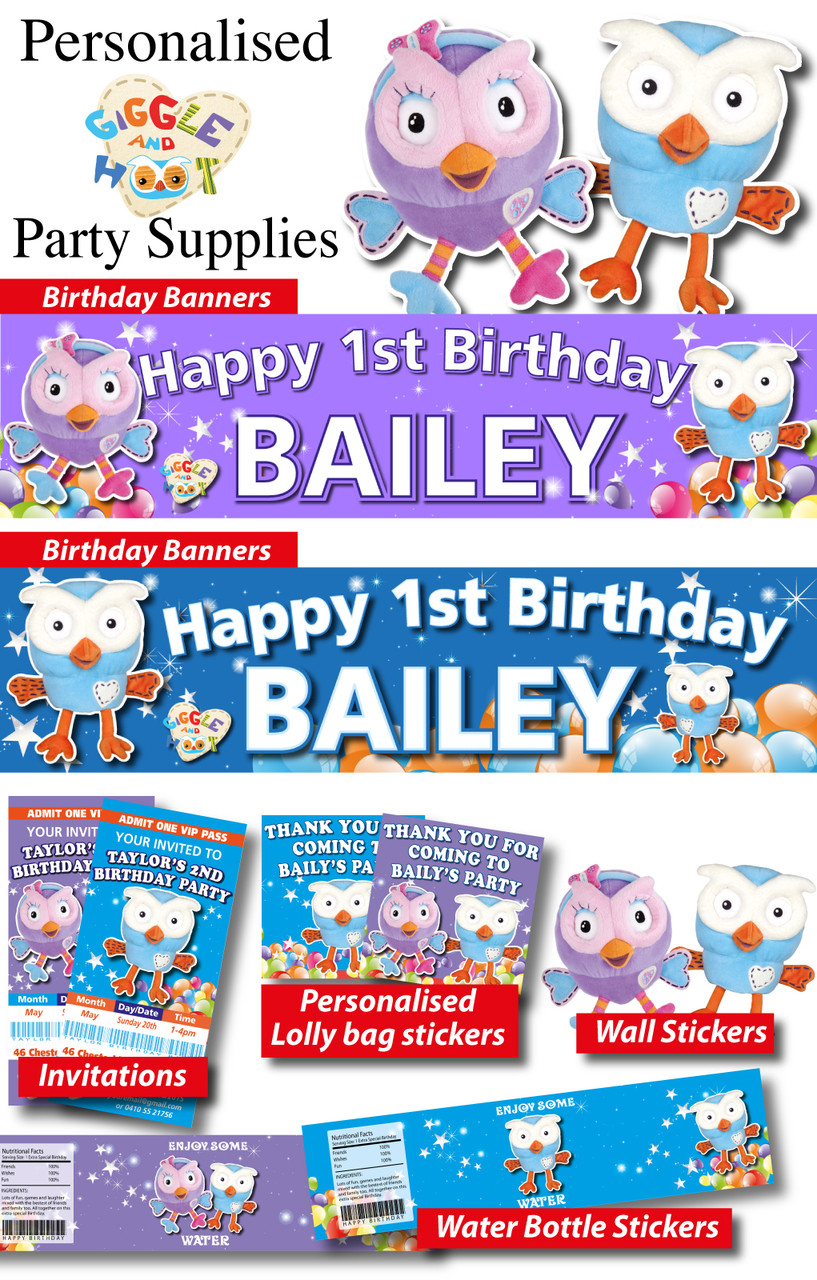 Personalised Giggle And Hoot Birthday Party Decorations Supplies