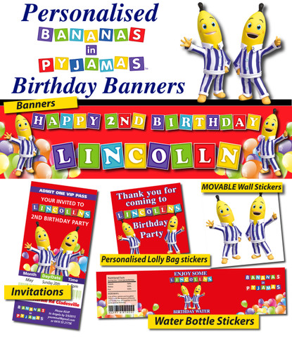 Personalised Bananas in Pyjamas Party Banner Decorations