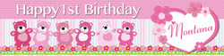 Personalised Girls Teddy Bear Birthday Banner