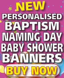 Personalised Baptist, Christening, Naming Day, Baby Shower, Banner