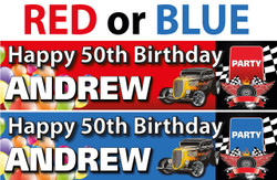Personalised Hot Rod Birthday Party Banner - Decoration