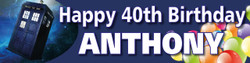 Personalised Tardis Birthday Banner