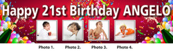 Personalised Champagne with Photos 18th 21st Party Birthday Banner