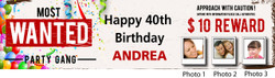 Personalised Wanted with Photos Birthday Banner