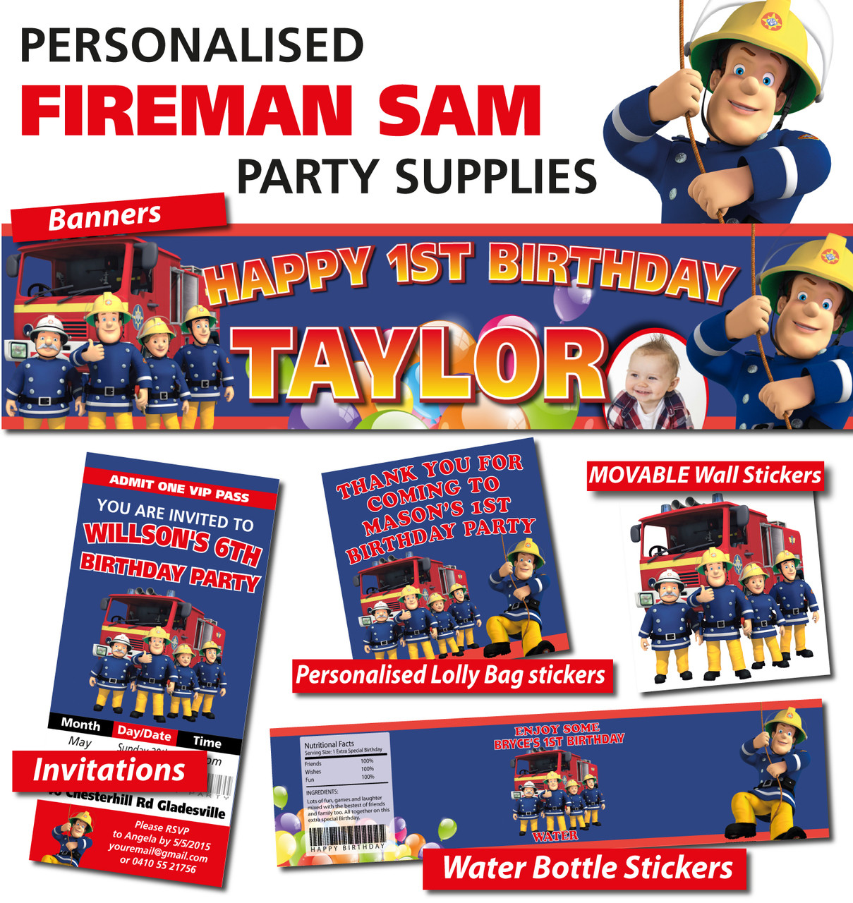 Personalised Fireman Sam Birthday Party Banner Decoration