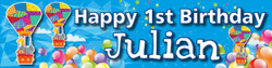Personalised Hot Air Balloon Birthday Banner