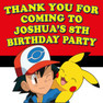 Personalised Pokemon Birthday Party favour Loot lolly bag stickers