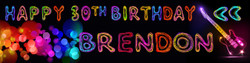 Personalised Neon Design Birthday Banner