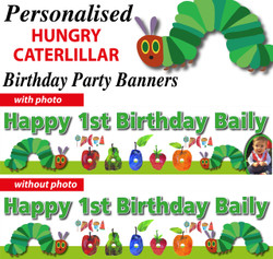 Personalised The Very Hungry Caterpillar Birthday Banner