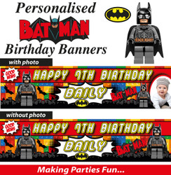 Personalised Batman Lego Birthday Banner Decoration