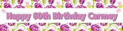 Personalised Floral Birthday Party Banner - Decoration