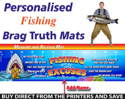 Personalised Fishing Excuses Brag Truth Measure and Release Mat