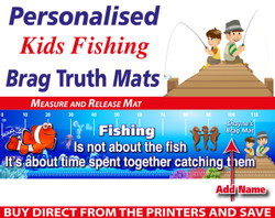 Personalised Kids Fishing Brag Truth Measure and Release Mat