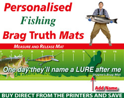Personalised Fishing Lure Brag Truth Measure and Release Mat