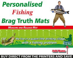 Personalised Fishing Quaint Village Brag Truth Measure and Release Mat