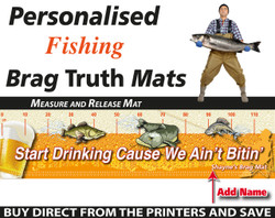 Personalised Fishing Start Drinking Brag Truth Measure and Release Mat