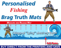 Personalised Fishing Stop Lying Brag Truth Measure and Release Mat