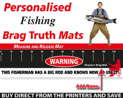Personalised Fishing Warning Brag Truth Measure and Release Mat