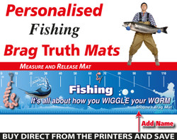 Personalised Fishing Funny Worm Brag Truth Measure and Release Mat