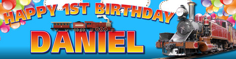 Personalised Vintage Train Birthday Party Banner Decoration