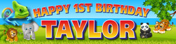 Personalised Cute Zoo Animals Birthday Party Banner Decoration