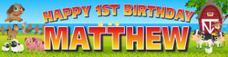 Personalised Farm Animals Birthday Party Banner Decoration