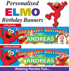 Personalised Elmo Birthday Party Banner Decoration