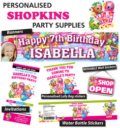 Personalised shopkins Birthday Party Banners Decoration Supplies
