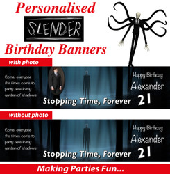 Personalised Slender Man Birthday Party Banner Decoration