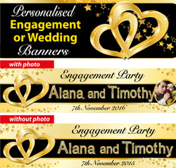 Personalised Gold Engagement or Wedding Party Banners