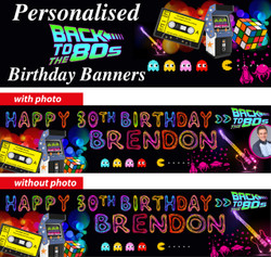 Personalised 80s Themed Birthday Party Banner Decoration