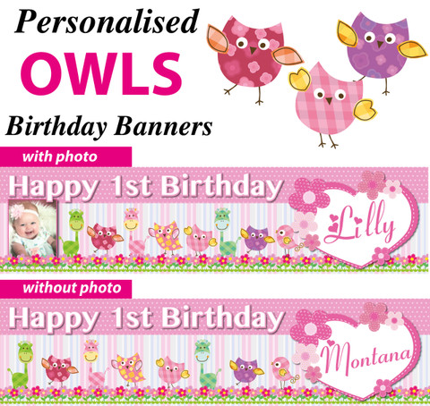 Personalised Owls Birthday Party Banner Decoration