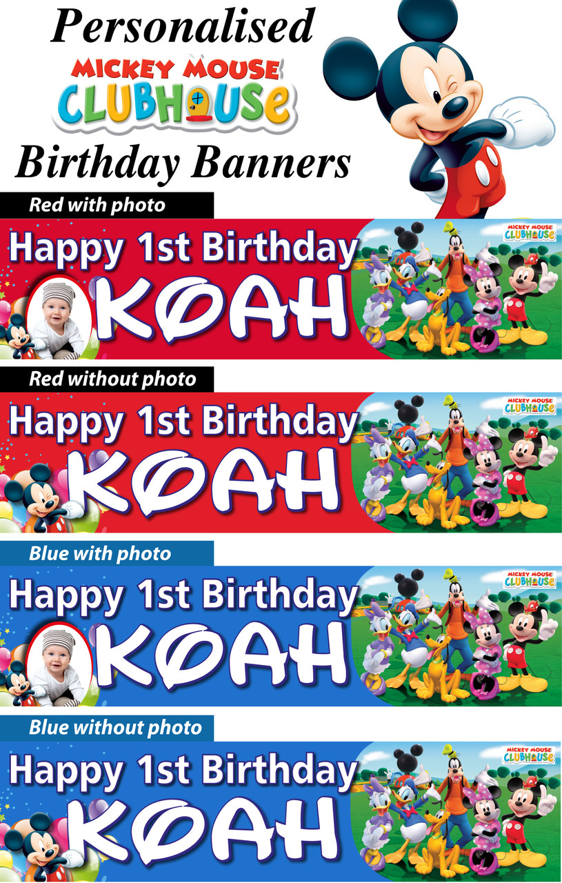 Personalised Mickey Mouse Clubhouse Birthday Party Banner Loading Zoom