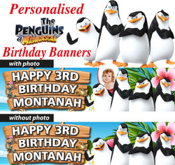 Personalised Penguins of Madagascar birthday Party Banner