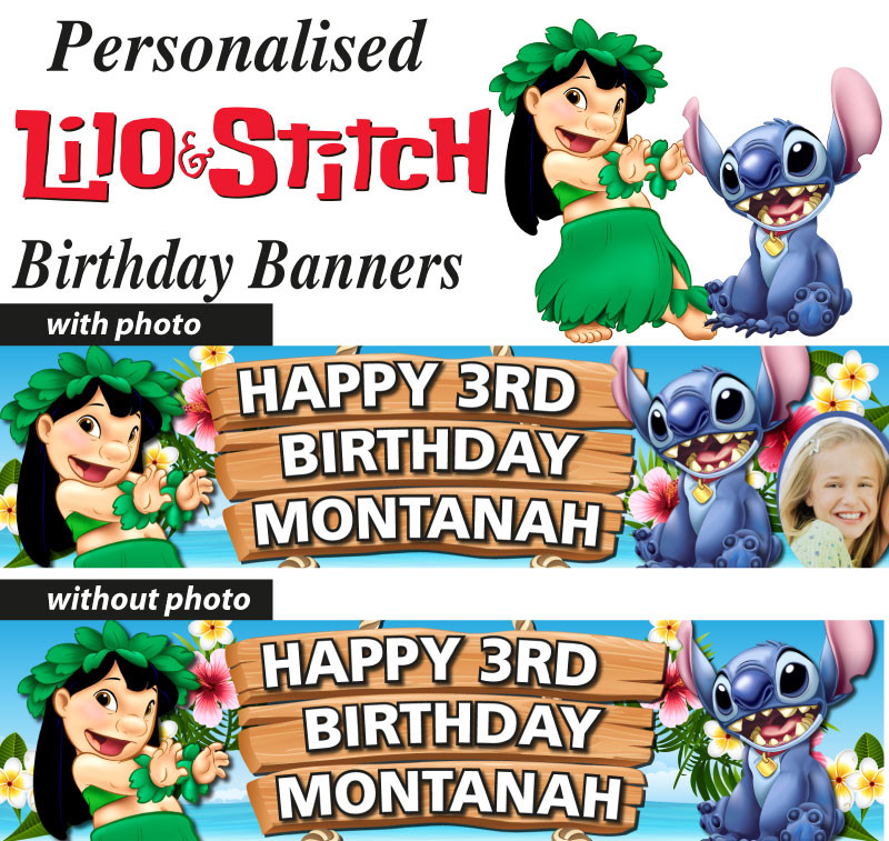 Lilo And Stitch Birthday Banner Lilo And Stitch Baby: Personalised Lilo And Stitch Birthday Party Banner Decoration