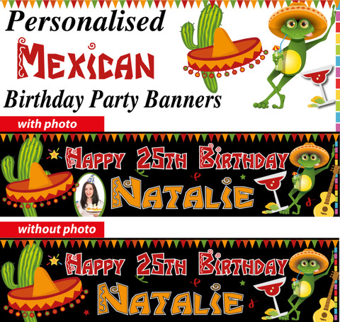 Personalised Mexican Theme birthday Party Banners Decorations