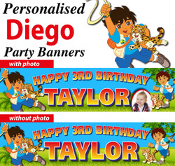 Personalised Diego De Dora Birthday Party Banners Decorations