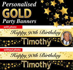 Personalised Gold Themed Birthday Party Banners Decorations