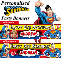Personalised Superman Birthday Party Banners Decorations