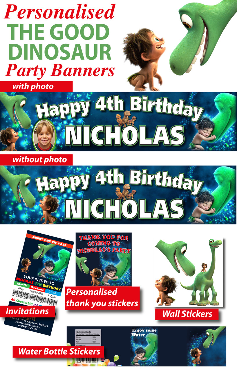 Personalised The Good Dinosaur Birthday Party Supplies Loading Zoom
