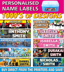 Personalised Kids Vinyl Name Labels - Drink Bottles Lunchbox School
