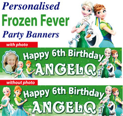 Personalised Frozen Fever Party Birthday Banners Decoration