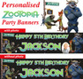 Personalised Zootopia Birthday Party Banners Supplies Decorations